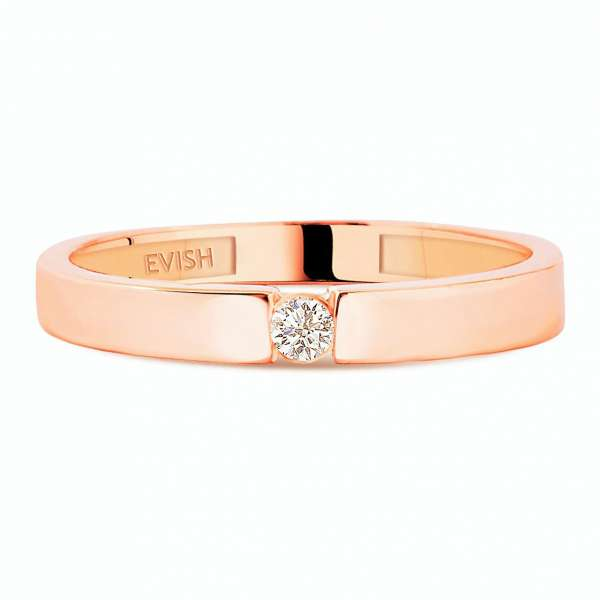Brillant Goldring 417 Roségold mit Diamant 0,05 Ct.